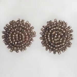 Vintage Seed Bead Flower Cluster Button Earrings